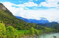 Inn river valley Alps mountains  Austria Stock Photography