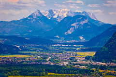 Inn river valley and Kaiser mountains view Stock Image