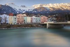 The Inn's river bank. The Inn riverside and the beautiful moutains behind, Innsbruck, Austria stock images