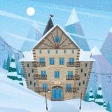 Inn on snow slope Stock Image