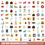 100 inn training icons set, flat style. 100 inn training icons set in flat style for any design vector illustration Royalty Free Stock Photo