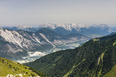 Inn Valley in Austria. View from the Pitztal to the Inn Valley in the Austrian Alps royalty free stock photo