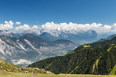 Inn Valley in Austria. View from the Sechszeiger in the Pitztal to the Inn Valley in the Austrian Alps royalty free stock photo
