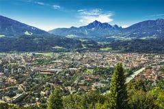 Inn Valley with Innsbruck city, Austria Royalty Free Stock Photos