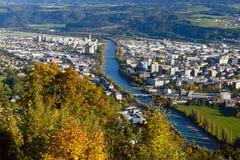 Inn Valley with Innsbruck city, Austria Stock Image