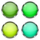 inna szklana guzików kolorów, dobrej jakości Zieleń 3d i żółty round zapinamy z chrom ramą Zdjęcie Royalty Free