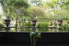 Innaffi il bacino in giardino della località di soggiorno, Bali Fotografia Stock Libera da Diritti