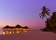 Innaffi il caffè al tramonto - Maldives Immagini Stock Libere da Diritti