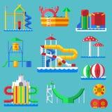 Innaffi il campo da giuoco del aquapark di divertimento con gli scorrevoli e spruzzi i cuscinetti per l'illustrazione di vettore  Immagini Stock Libere da Diritti