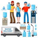 Innaffi il carattere dell'uomo di servizio di distribuzione negli elementi uniformi e differenti di vettore della bottiglia di ac Fotografia Stock
