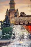 Innaffi la caduta dalla fontana del pesce e dal Cathedralin ortodosso metropolitano i precedenti in Timisoara, Romania immagine stock