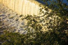 Innaffi la cascata sul fiume della Moldava a Praga durante il sole di primo mattino con vegetazione nella priorità alta Immagine Stock