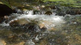 Innaffi lo scorrimento e colpisca la roccia che spruzza sulla cataratta in foresta stock footage