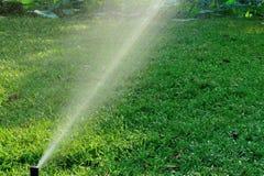 Innaffiatura dello spruzzo dell'impianto di irrigazione immagini stock