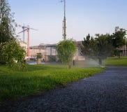 Innaffiatura l'erba, l'agricoltura, l'erba e degli alberi fotografia stock libera da diritti