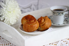 Ð¡innamon rolls. Delicious breakfast in bed for your favorite royalty free stock photos