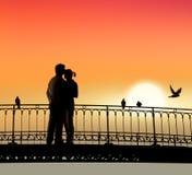 innamorati del ponticello Fotografie Stock Libere da Diritti