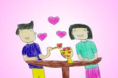 Innamorato - disegno con le matite colorate Fotografie Stock