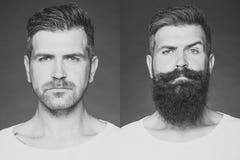 Innan att raka och after Två applicerade bilder av en man royaltyfria bilder