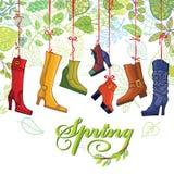 Innegrej färgade kvinnors kängor, skor, vår Royaltyfria Foton