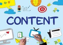 INNEHÅLL (Blogging Media&Social för nöjda data nätverkande förbinder Royaltyfri Fotografi