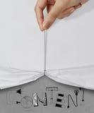 INNEHÅLL för show för handtagrep öppet rynkigt pappers- royaltyfri foto