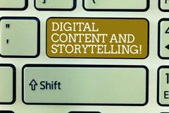 Innehåll och historieberättande för ordhandstiltext Digitalt Affärsidé för att marknadsföra annonserande optimizationstrategi royaltyfri foto