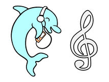 innehåller vektorn för ingreppet för delfinmapplutningen Arkivfoto