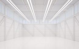 Innen-Bild der Wiedergabe 3d des modernen weißen Lagers Stockfotografie