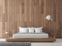 Innen-Bild der Wiedergabe 3d des modernen zeitgenössischen Schlafzimmers Lizenzfreie Stockfotografie