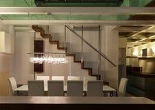 Innen-, breiter Dachboden, Esszimmer Lizenzfreies Stockbild