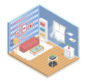 Innen, isometrisch, Wohnzimmer Stockbild