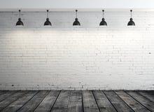 Innen- und fünf Lampen des Ziegelsteines Stockfotos