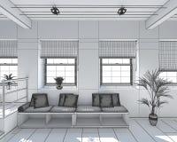 Innen-Wiedergabe 3D eines kleinen Dachbodens lizenzfreie stockbilder
