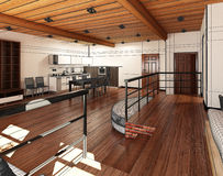 Innen-Wiedergabe 3D eines kleinen Dachbodens lizenzfreie stockfotografie