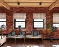 Innen-Wiedergabe 3D eines kleinen Dachbodens lizenzfreies stockfoto
