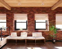 Innen-Wiedergabe 3D eines kleinen Dachbodens lizenzfreies stockbild