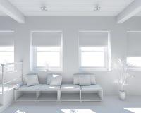 Innen-Wiedergabe 3D eines kleinen Dachbodens lizenzfreie stockfotos