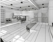 Innen-Wiedergabe 3D eines kleinen Dachbodens stockfoto