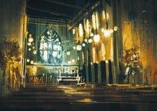 Innenansicht einer Kirche und des drastischen Lichtes stock abbildung