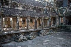 Innenansicht von Angkor Wat Lizenzfreie Stockfotos