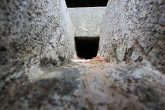 Innenansicht von den Wasserspeiern 18 Fuß lang an hoysaleswara Tempel Stockbild