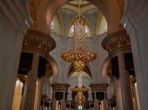 Innenansicht zu Sheikh Zayed Mosque, Abu Dhabi, UAE Lizenzfreie Stockfotos