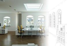 Innenarchitektur-Büro-Zeichnungs-Abstufung in Fotografie Lizenzfreie Stockbilder