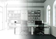 Innenarchitektur-Büro-Zeichnungs-Abstufung in Fotografie Lizenzfreie Stockfotos
