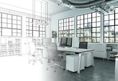 Innenarchitektur-Büro-Zeichnungs-Abstufung in Fotografie Stockbilder