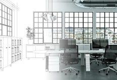 Innenarchitektur-Büro-Zeichnungs-Abstufung in Fotografie Lizenzfreies Stockfoto
