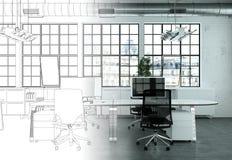 Innenarchitektur-Büro-Zeichnungs-Abstufung in Fotografie Lizenzfreies Stockbild