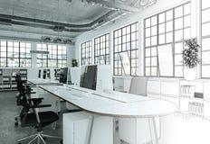 Innenarchitektur-Büro-Zeichnungs-Abstufung in Fotografie Stockfotografie