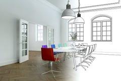 Innenarchitektur-Büro-Zeichnungs-Abstufung in Fotografie Stockfotos